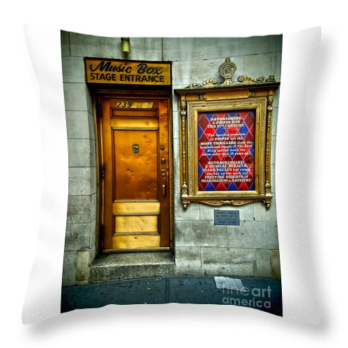 Broadway Throw Pillow featuring the photograph Music Box Stage Entrance by James Aiken