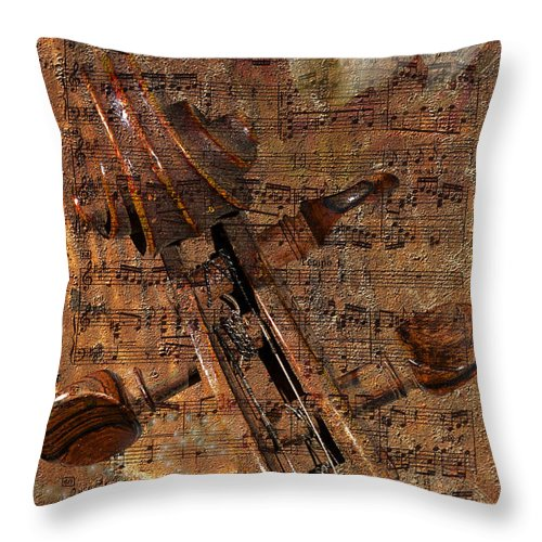 Collage Throw Pillow featuring the photograph Music Collage by Phyllis Denton