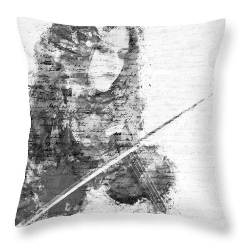 Violin Throw Pillow featuring the digital art Music In My Soul Black And White by Nikki Marie Smith
