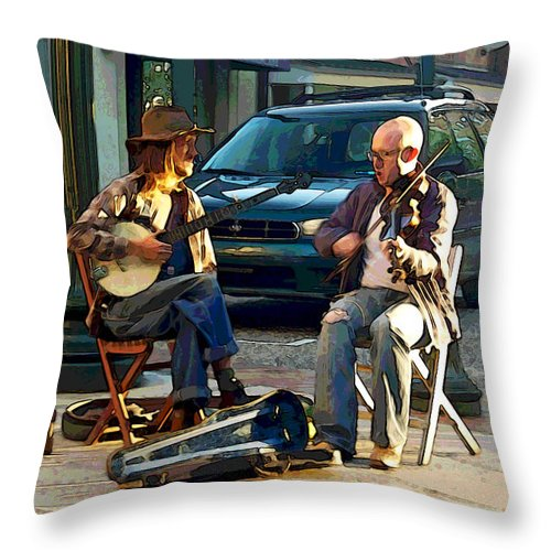 Street Musicians Throw Pillow featuring the photograph Music In The Air by Suzanne Gaff