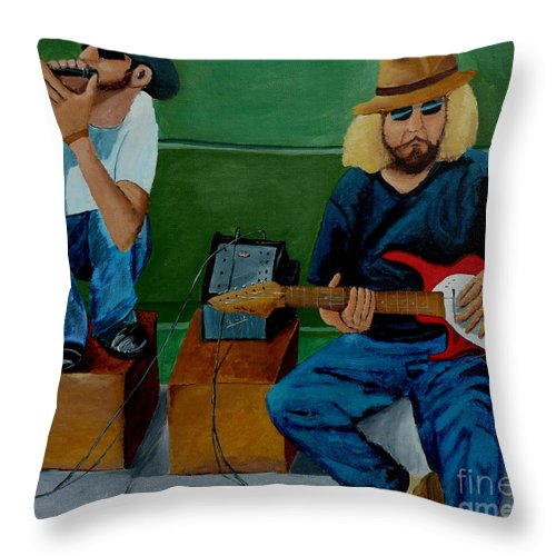 Street Throw Pillow featuring the painting Music Of The Street by Anthony Dunphy