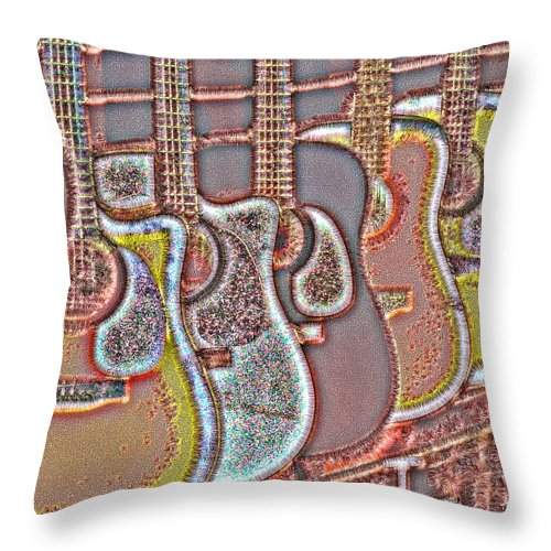 Abstract Guitar Throw Pillow featuring the digital art Music Time 4 by Devalyn Marshall