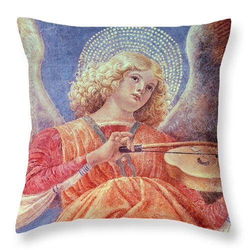 Forli Throw Pillow featuring the painting Musical Angel With Violin by Melozzo da Forli
