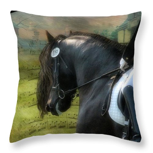 Friesian Horses Throw Pillow featuring the digital art Musical Freestyle by Fran J Scott