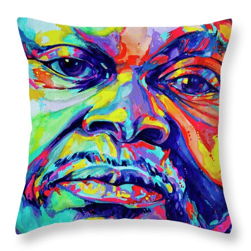 Acrylic Throw Pillow featuring the painting Musical Genuis by Derrick Higgins
