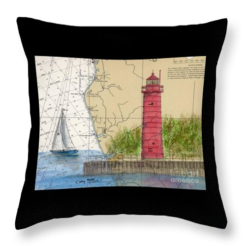 Muskegon Throw Pillow featuring the painting Muskegon Lighthouse Mi Nautical Chart Map Art Cathy Peek by Cathy Peek