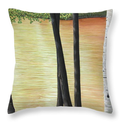Landscape Throw Pillow featuring the painting Muskoka Lagoon by Kenneth M Kirsch