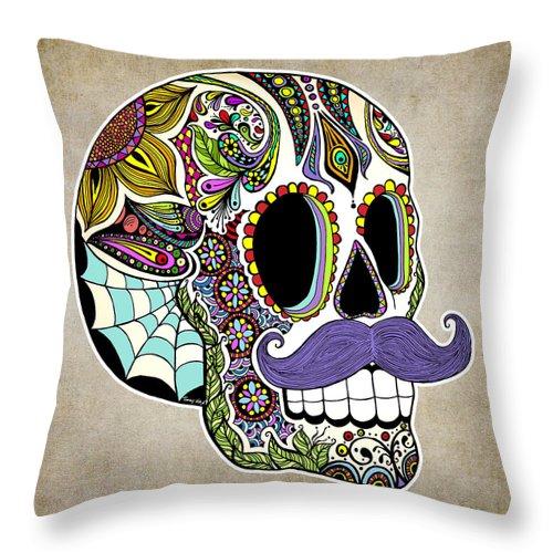 Vintage Throw Pillow featuring the digital art Mustache Sugar Skull Vintage Style by Tammy Wetzel