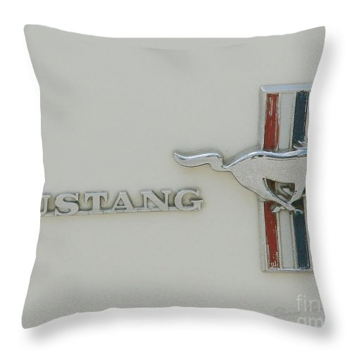 White Throw Pillow featuring the photograph Mustang by Donna Cavanaugh