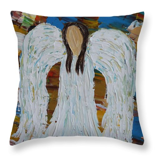 Impasto Throw Pillow featuring the painting My Angel by Molly Roberts