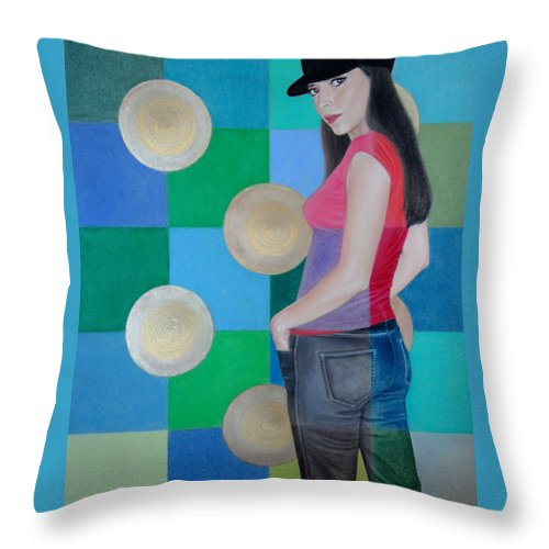Black Cap Throw Pillow featuring the painting My Black Cap by Lynet McDonald