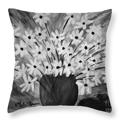 Daisy Throw Pillow featuring the painting My Daisies Black And White Version by Ramona Matei