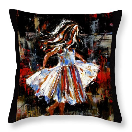Child Throw Pillow featuring the painting My Dress by Debra Hurd