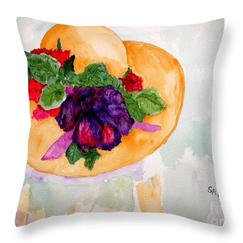 Easter Throw Pillow featuring the painting My Easter Bonnet Long Ago by Sandy McIntire