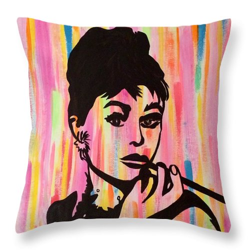 Audrey Hepburn Throw Pillow featuring the painting My Fair Lady by Surbhi Grover