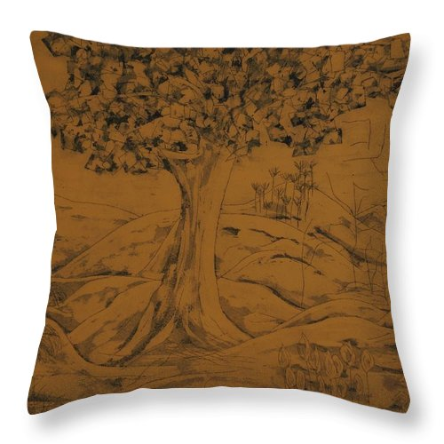 Landscape Throw Pillow featuring the painting My Favorite Tree by Erika Chamberlin