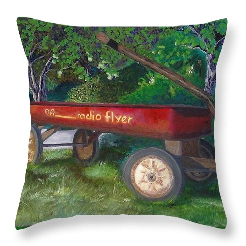 Radio Throw Pillow featuring the painting My First Car by Ryan Williams
