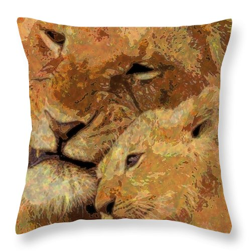 Cats Throw Pillow featuring the mixed media My Little One by Wendie Busig-Kohn