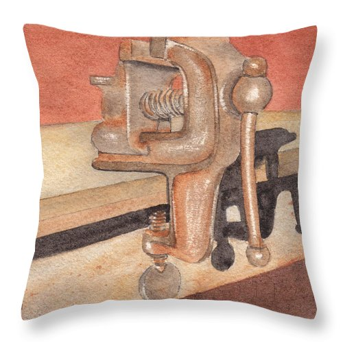 Vice Throw Pillow featuring the painting My Neighbors Vise by Ken Powers