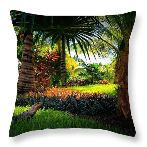 Iguanas Throw Pillow featuring the photograph My Pal Iggy by Robert McCubbin