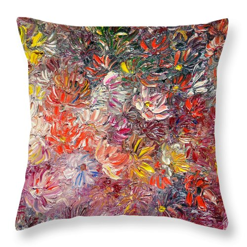 Abstract Throw Pillow featuring the painting My Pretty Pallet by Karin Dawn Kelshall- Best