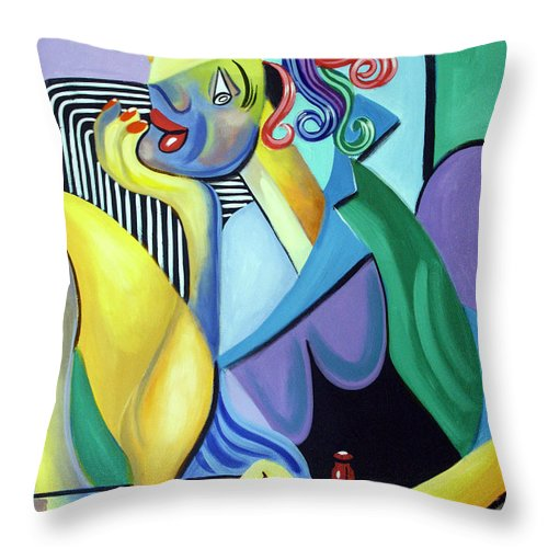 My Redneck Girl Throw Pillow featuring the painting My Redneck Girl by Anthony Falbo