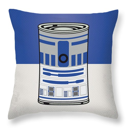 Star Throw Pillow featuring the digital art My Star Warhols R2d2 Minimal Can Poster by Chungkong Art