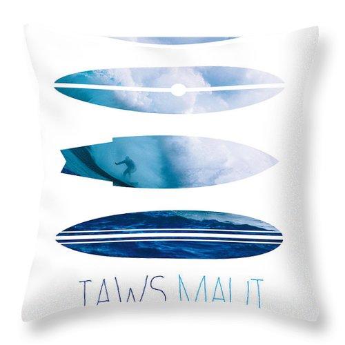 Minimal Throw Pillow featuring the digital art My Surfspots poster-1-Jaws-Maui by Chungkong Art