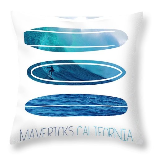 Minimal Throw Pillow featuring the digital art My Surfspots poster-2-Mavericks-California by Chungkong Art