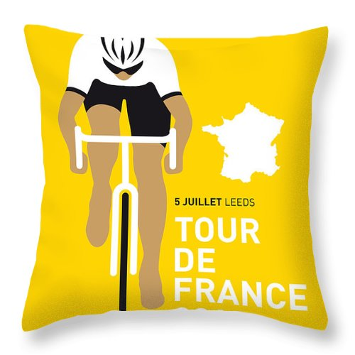 Minimal Throw Pillow featuring the digital art My Tour De France Minimal Poster 2014 by Chungkong Art