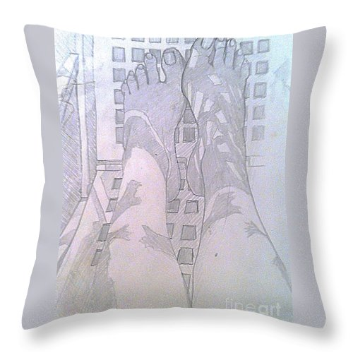 Feet Throw Pillow featuring the drawing My Two Feet by Michelle Deyna-Hayward