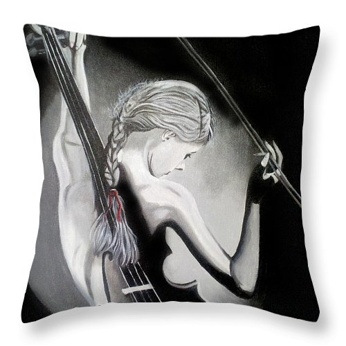Violin Throw Pillow featuring the painting My Voilin by Jose Manuel Abraham