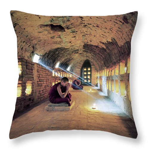 Arch Throw Pillow featuring the photograph Myanmar, Buddhist Monks Inside by Martin Puddy