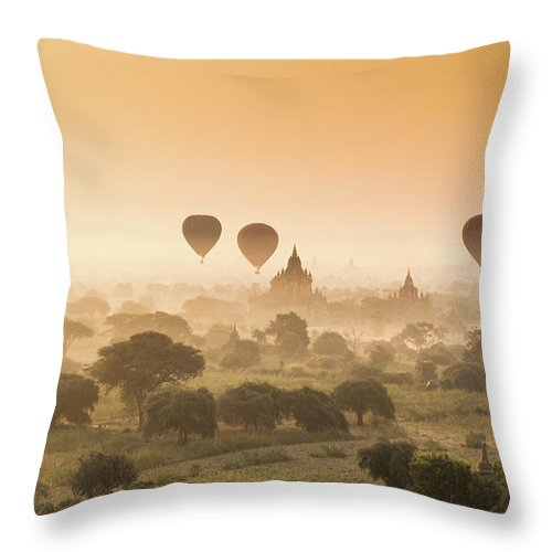 Tranquility Throw Pillow featuring the photograph Myanmar Burma - Balloons Flying Over by 117 Imagery
