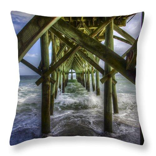 Pier Throw Pillow featuring the photograph Myrtle Beach Pier by Valerie Mellema
