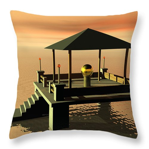Architecture Throw Pillow featuring the digital art Mysterious Architecture by Phil Perkins