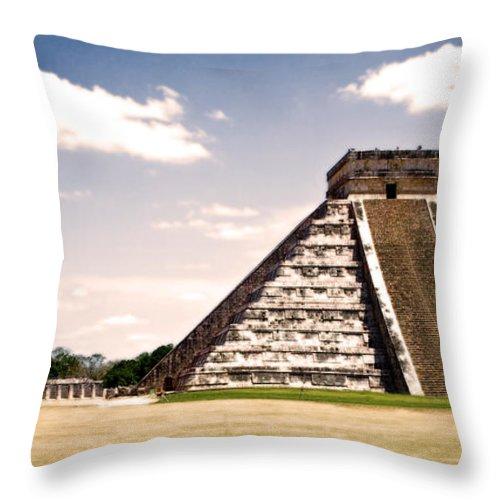 Chichen Itza Throw Pillow featuring the photograph Mysterious Chichen Itza by Chris Brannen