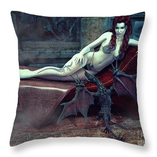 3d Throw Pillow featuring the digital art Mysterious Place by Jutta Maria Pusl