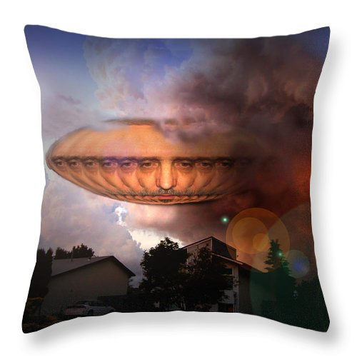 Surrealism Throw Pillow featuring the digital art Mystic Ufo by Otto Rapp