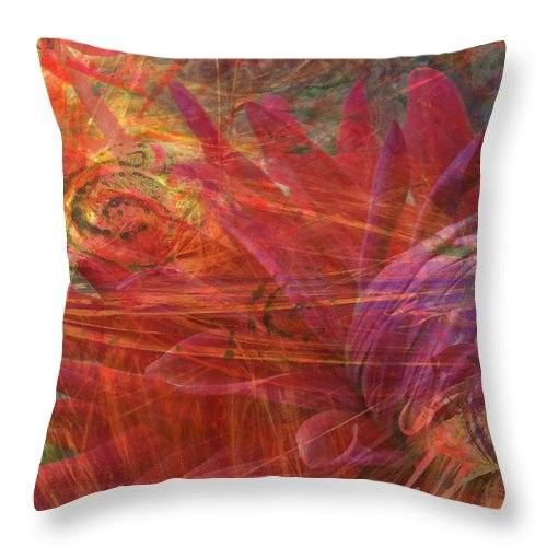 Fractals Throw Pillow featuring the digital art Mystical Dahlia by Donna Walsh