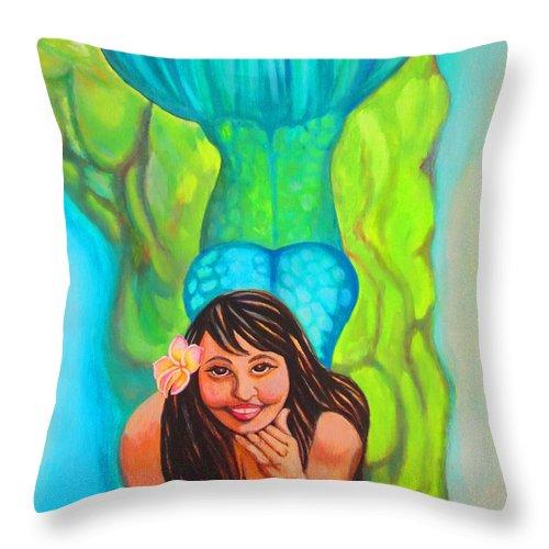 Elaine Haakenson Throw Pillow featuring the painting Mystical Mermaid by Elaine Haakenson