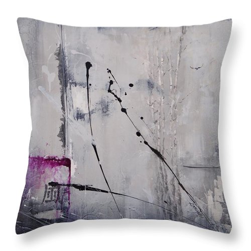 Birch Trees Throw Pillow featuring the painting Mystified by Laura Lee Zanghetti