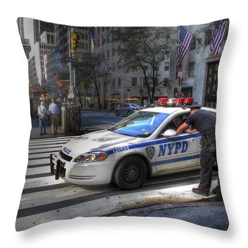 New York City Throw Pillow featuring the photograph N Y P D by Douglas J Fisher