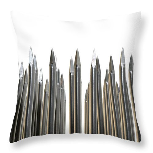 Array Throw Pillow featuring the digital art Nails Array Abstract Macro by Allan Swart