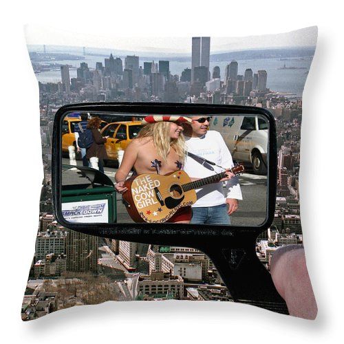 New York Throw Pillow featuring the photograph Naked Cow Girl by Christopher McKenzie