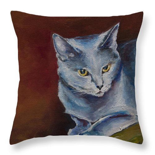 Cat Portrait Throw Pillow featuring the painting Nala by Julie Dalton Gourgues