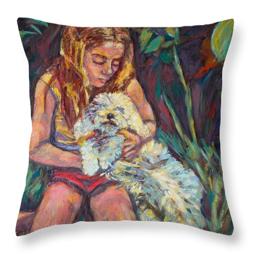 Girl Throw Pillow featuring the painting Nan And Beau by Kendall Kessler