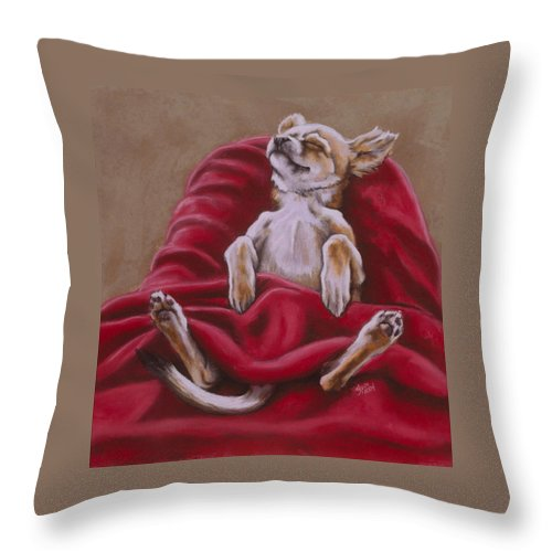 Art Throw Pillow featuring the pastel Nap Hard by Barbara Keith