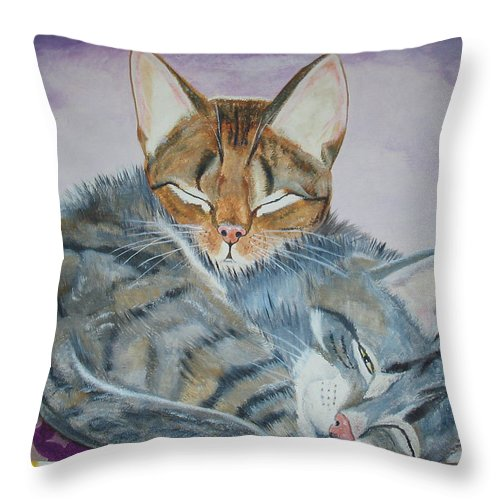 Pillow Throw Pillow featuring the painting Nap Time by Thomas J Herring