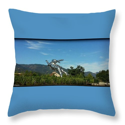 Rabbit Throw Pillow featuring the photograph Napa Bunny by Daniel Jakus
